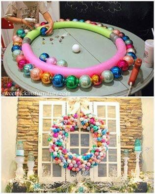 DIY Christmas wreath using pool noodles and ornaments