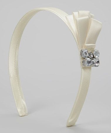 Take a look at this Ivory Rhinestone Bow Headband by Scorpio Accessories on #zulily today!