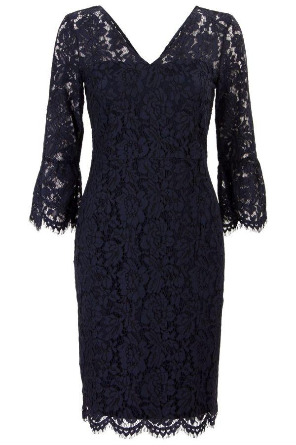 Kanten jurk met v-hals en trompetmouw Blauw