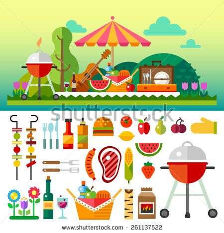Summer picnic in meadow with flowers: umbrella, guitar, basket with food, fruits, barbecue. Vector flat  illustrations and set of element