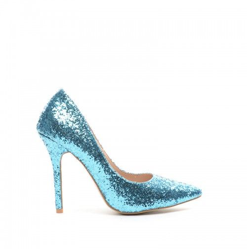 Pantofi Moco Albastri -  material textil  Colectia Pantofi cu toc de la…