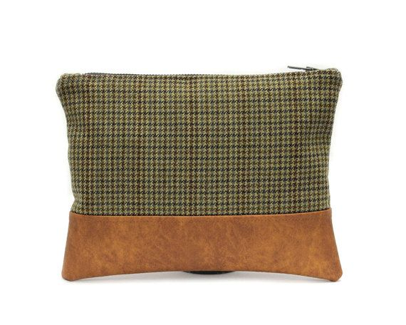 Brown Olive Clutch Wool Tweed Handbag Vegan Leather by AikoThreads
