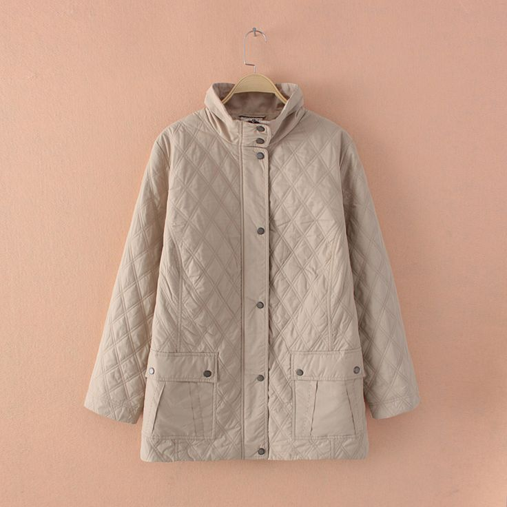 Plus Size Women Lightweight Diamond Quilted Beige Long Jacket Coat Outwear Parka Large Size Women Clothing Big Size