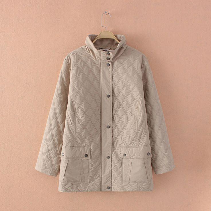 Plus Size Women Lightweight Diamond Quilted Beige Long Jacket Coat Outwear Parka Large Size Women Clothing Big Size