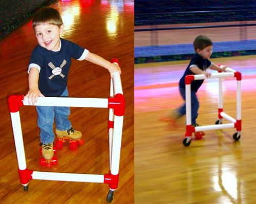 """How awesome is this? How long have these existed??? They're called """"Skate Mates"""" and they give your new skating child balance and support while learning to skate! Love it!"""