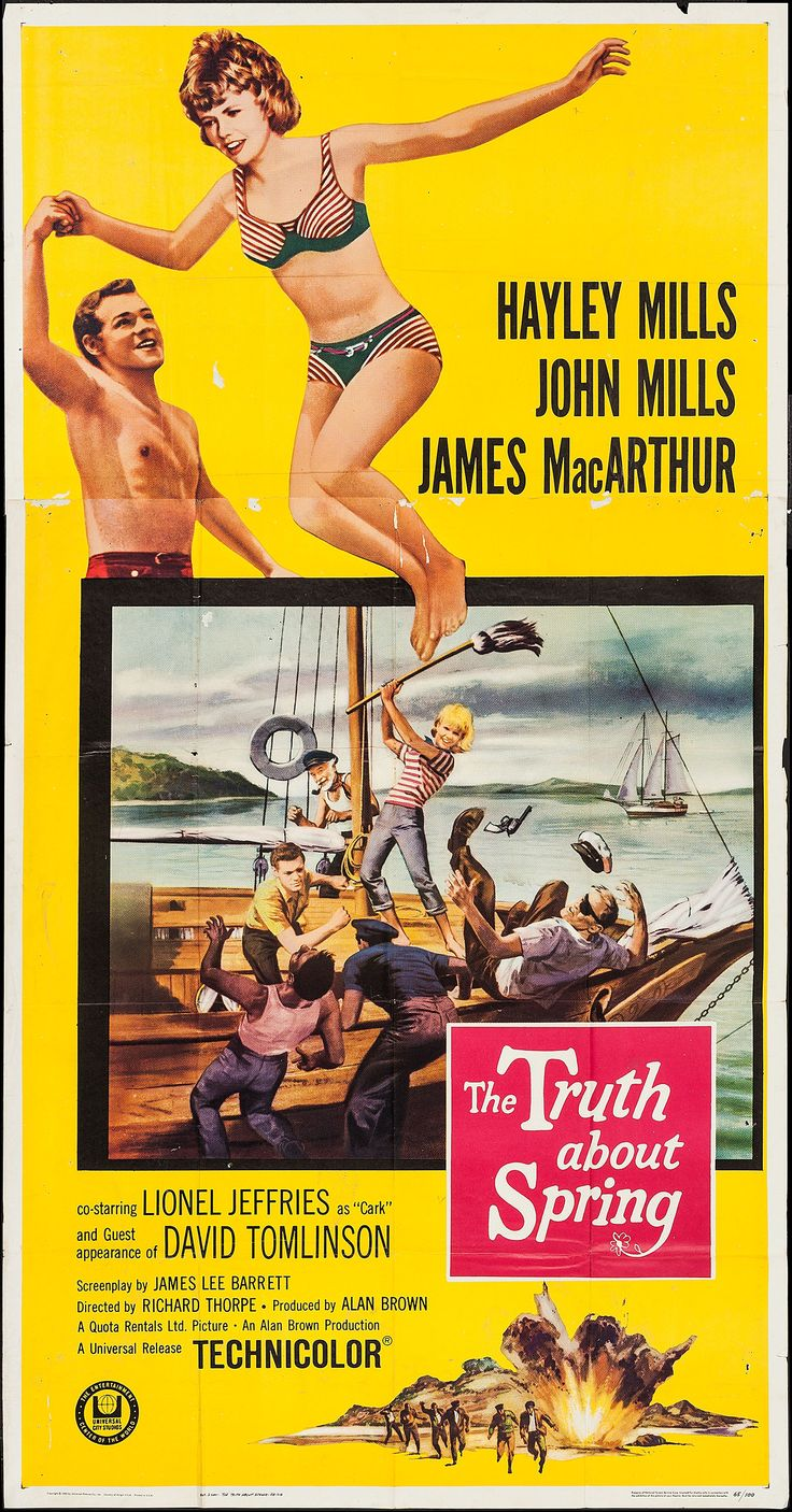 """The Truth About Spring"" (1965) Director: Richard Thorpe, Stars: Hayley Mills, John Mills, James MacArthur, Lionel Jeffries, Harry Andrews, Niall MacGinnis, David Tomlinson"