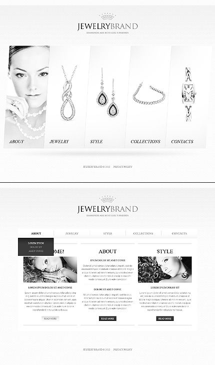 Template 40312 - Jewelry Single Page HTML5 Website Template With Unique Splash Page