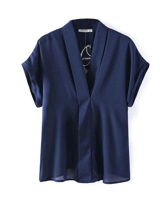 Short Sleeves Back Embroidery Kinomo Blouse
