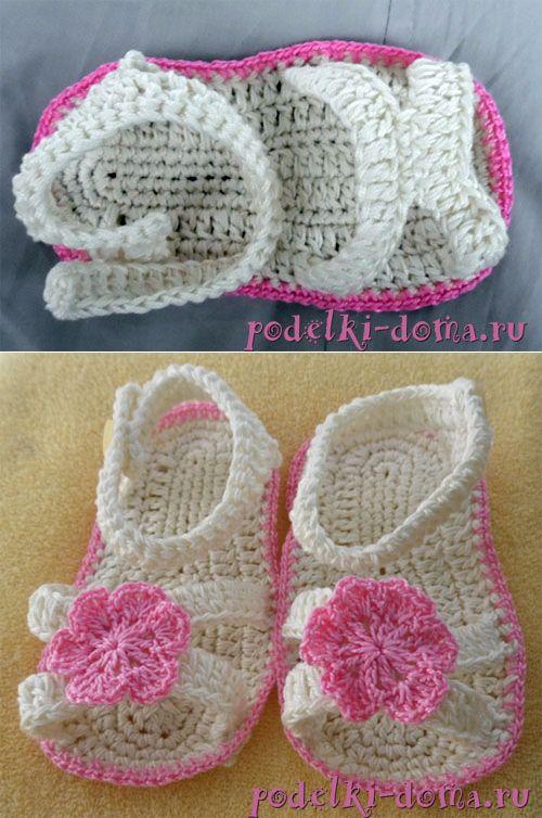 Пинетки-сандалики для девочки (крючком) | Коробочка идей и мастер-классов
