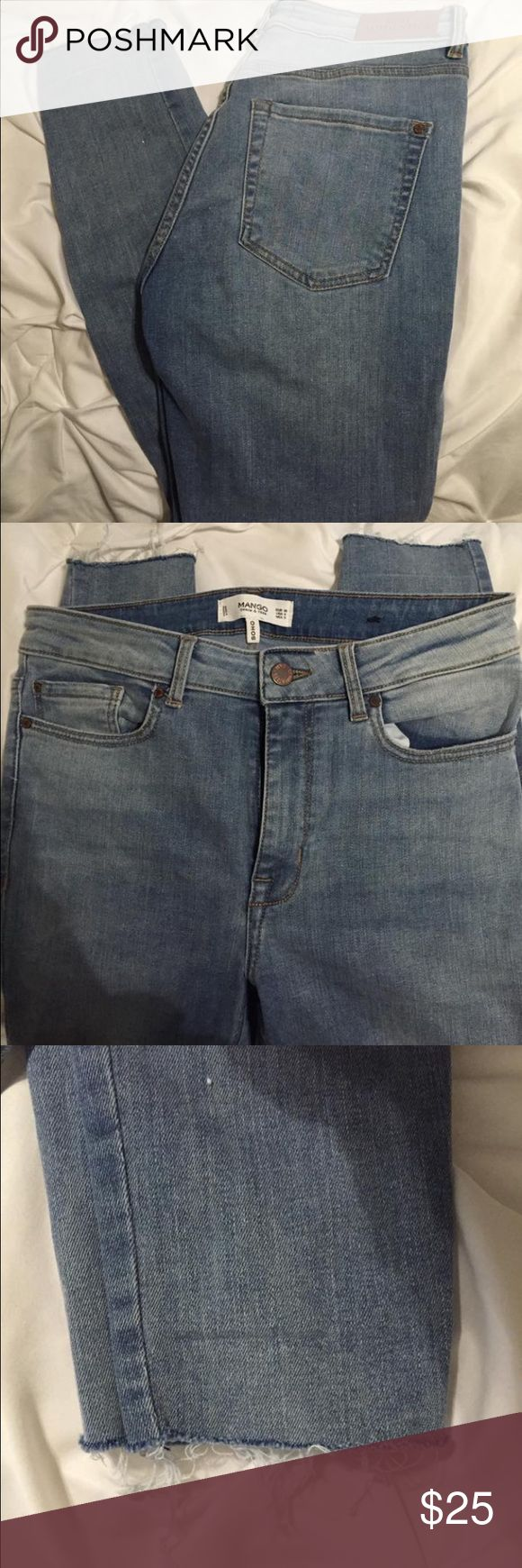 Women's Jeans Light wash, skinny jeans, high-wasted, new never worn, bought in Italy, stretchy, frayed bottom Mango Pants Skinny