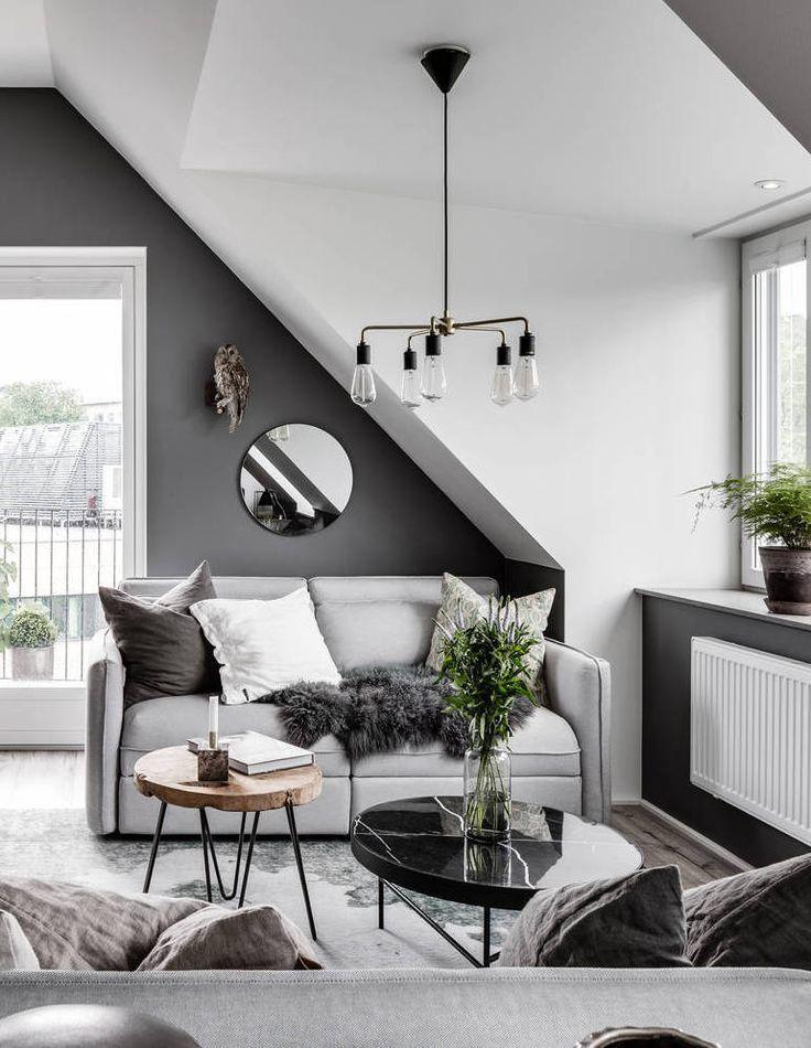 Attic Living Area In Grey Minimalist Living Room Scandinavian Design Living Room Living Room Scandinavian