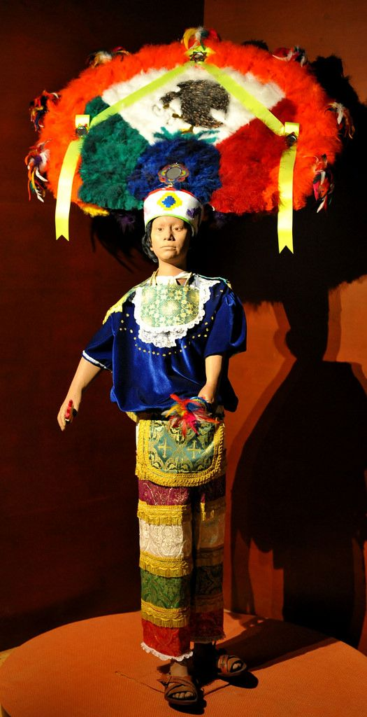 The mannequin is wearing the typical regalia used for La Danza de la Pluma, a dance of the conquest that is performed in Zapotec towns in Oaxaca's central valley. Museo Nacional de Antropologia, Mexico City