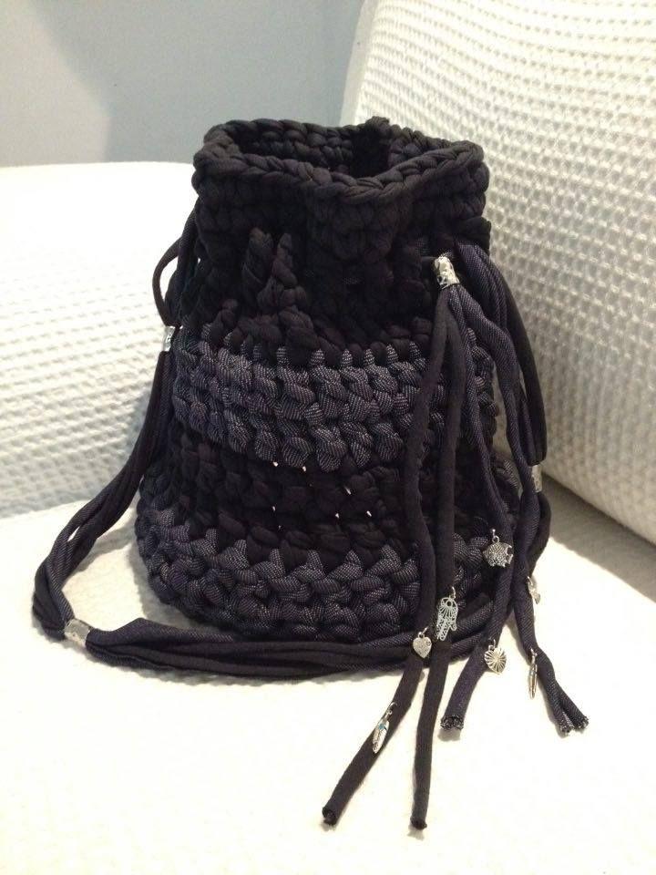 Handmade Hooked Zpagetti bag with silver lucky charm pendants! Big Bucket Bag