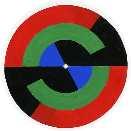 DC/090 – Colour wheels made by Ted Odling to demonstrate colour theory – the reverse sides show the calculations used to derive the proportions of disks allocated to each colour, c1970s.