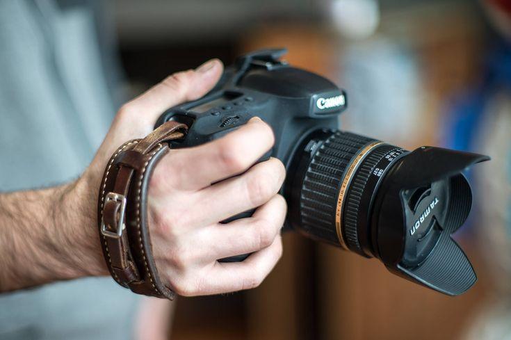 Adjustable Leather Camera Wrist Strap | Leather Camera Grip Strap for DSLR, SLR & vintage cameras | Personalized Leather Camera hand Strap #leathercamerahandstrap #ramielleathercrafts