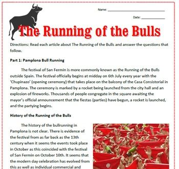 Reading, questions, and crossword puzzle about the San Fermin Running of the Bulls. Great emergency sub plan for Spanish class!