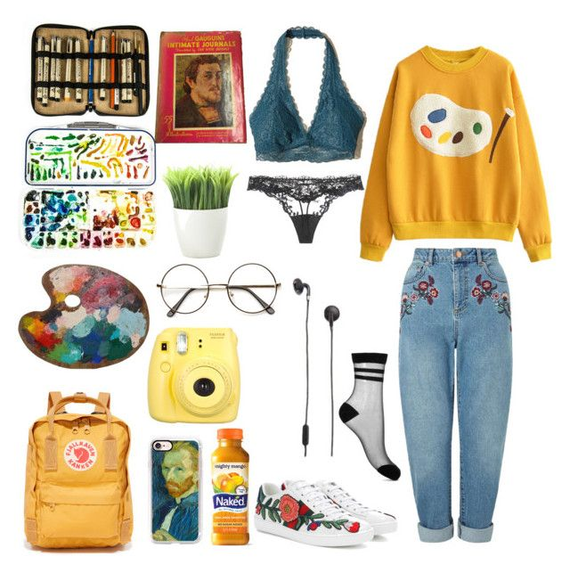 """art hoe"" by shadowin ❤ liked on Polyvore featuring Miss Selfridge, Hollister Co., La Perla, Gucci, Fujifilm, Kikkerland, Moleskine, Casetify, Fjällräven and Urbanears"