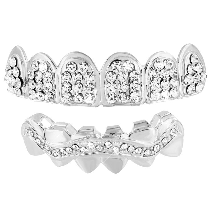 Iced Out Grillz 14k White Gold Finish Top Bottom Set Sale