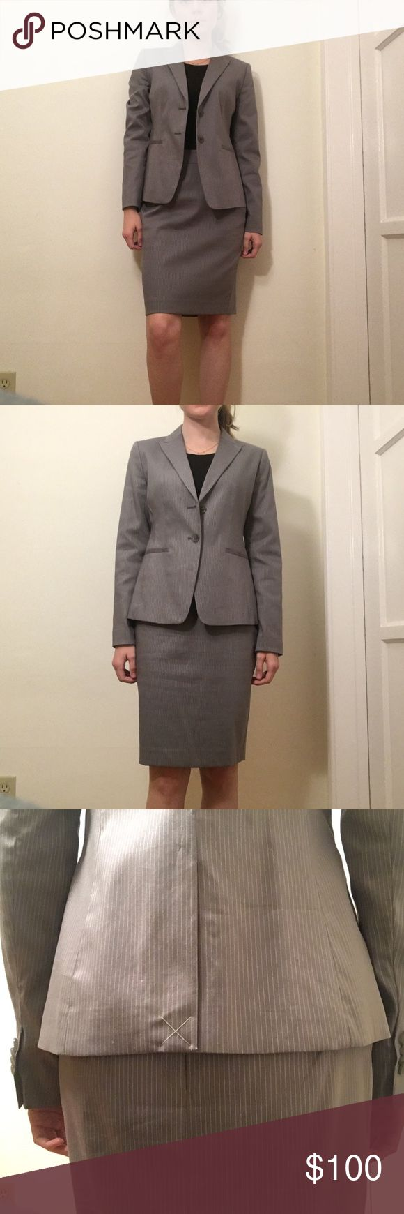NWT Ann Taylor Grey Pinstripe Suit Grey pinstripe skirt suit by Ann Taylor. Classic piece for any closet. It's a 0P, sadly slightly too big for me 😔. I've held onto it for too long hoping that it would fit me right. Great suit for the office. The jacket is NWT. The skirt is NWOT. Jacket was originally 159.99 and skirt was 89.99, but I bought it on sale for about 150. Amazing deal!! Ann Taylor Jackets & Coats Blazers
