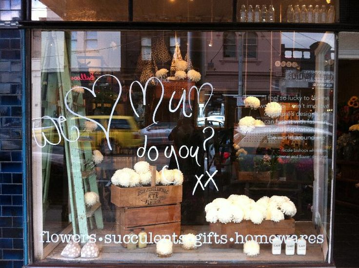 This is a cute window display for Mother's Day