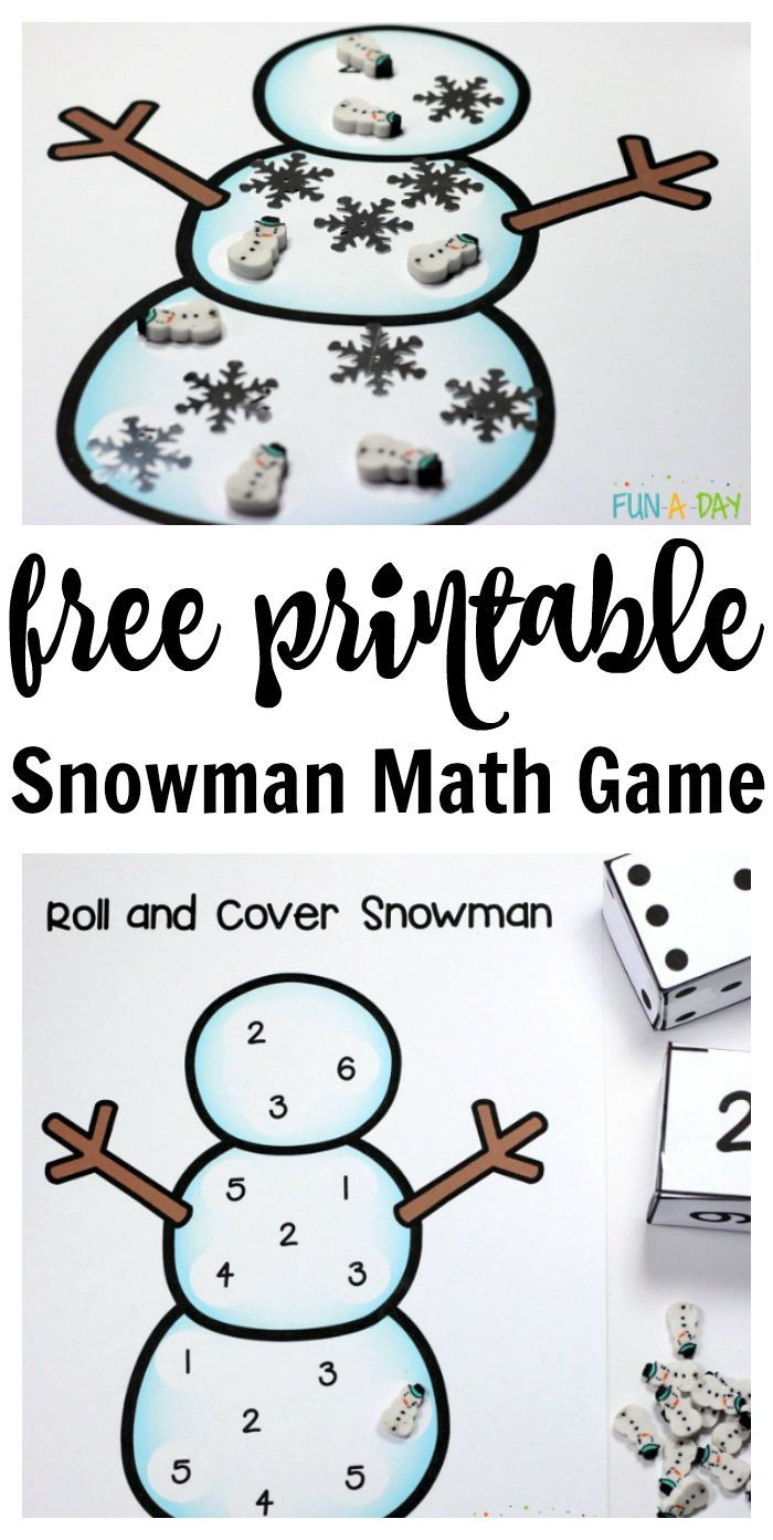 Free printable snowman number game for preschool and kindergarten