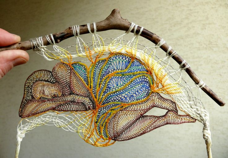 Lace & Wood Wall Decoration by Hungarian artist Ágnes Herczeg