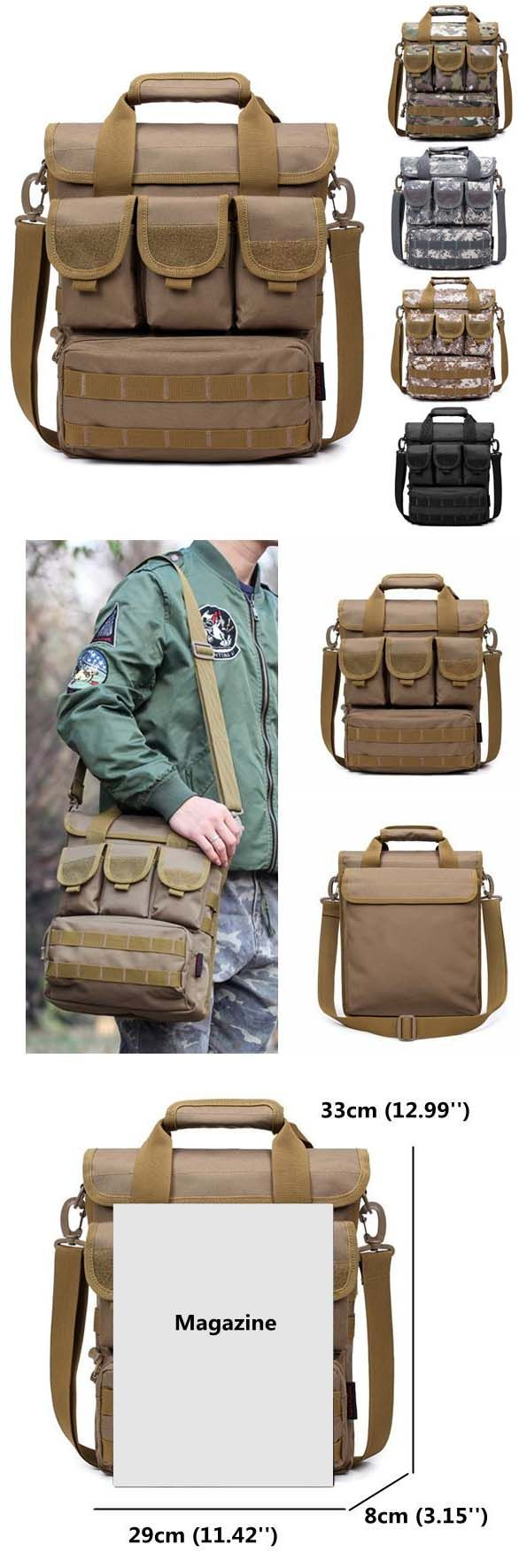 US$23.87#Tactical Outdoor Casual Crossbody Bag Sports Multi Pocket Oxford Sling Bag For Men