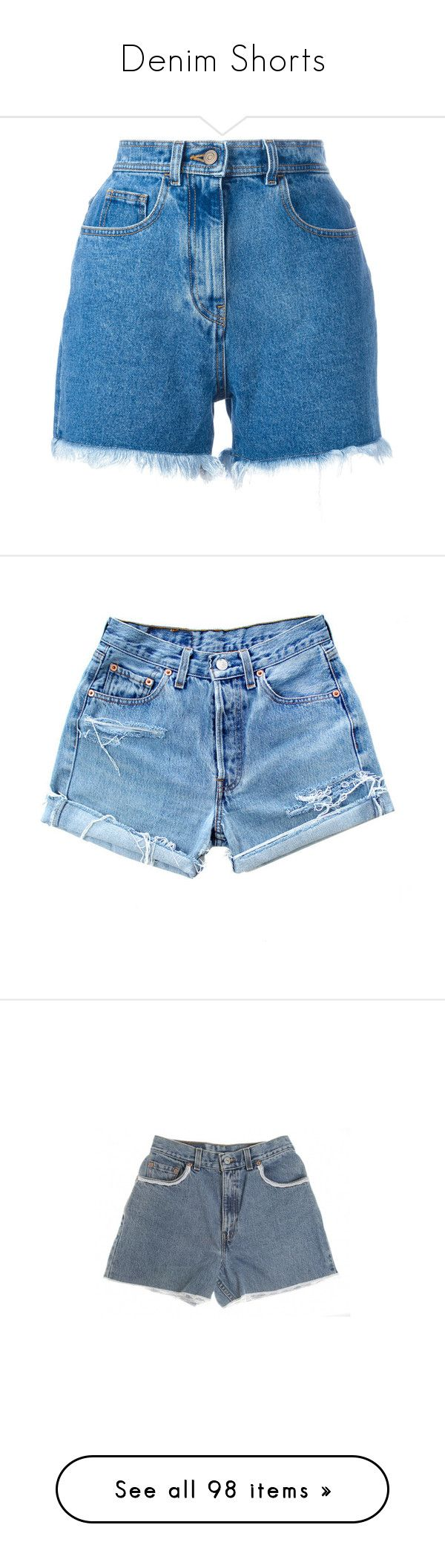 """""""Denim Shorts"""" by oh-aurora ❤ liked on Polyvore featuring shorts, bottoms, pants, short, blue, blue shorts, blue jean shorts, denim shorts, short shorts and short jean shorts"""