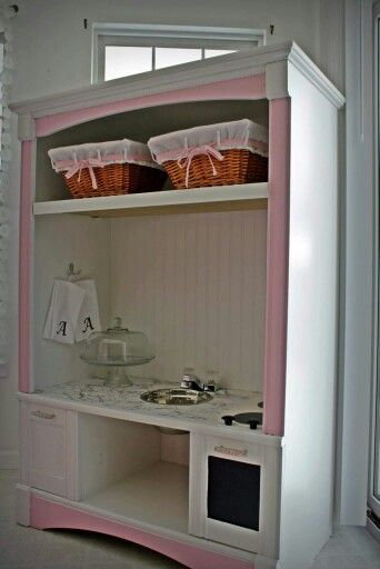 Upcycled, Play Kitchen, Play kitchen remodeled from entertainment center.