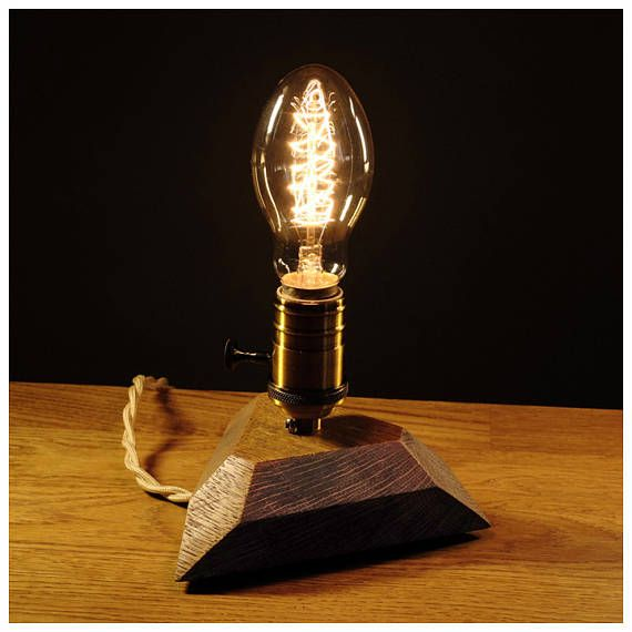 A wooden lamp designed for retro EDISON light bulbs.The lamp is made by hand from natural wood, polished and coated with Danish oil.Natural Oak. The lamp has a switch and also a dimmer is installed on the cord to adjust the brightness. DETAILS - Base Dimensions: 16cm*16cm*16cm(6,4*6,4