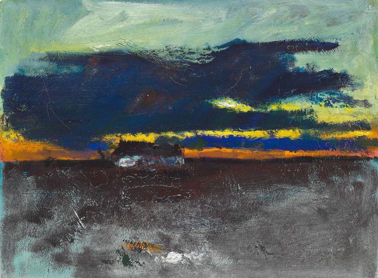 Oluf Høst (Danish, 1884-1966), A farmhouse against the evening skies, Bornholm. Oil on canvas, 47×62 cm.