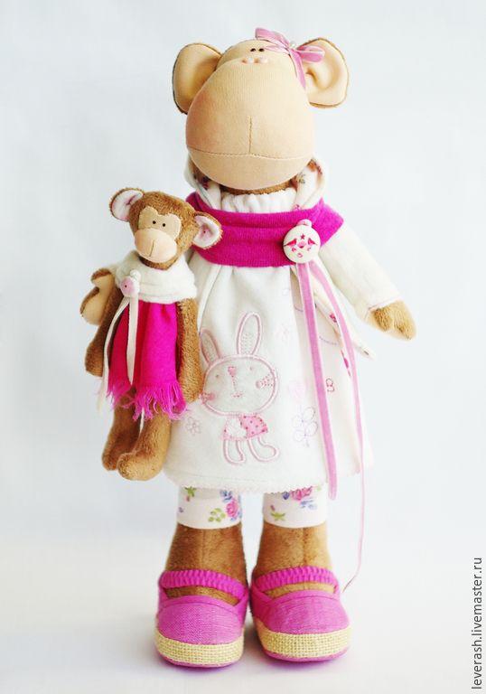 Купить Обезьянка. Символ 2016года - розовый, обезьянка, обезьяна игрушка, обезьяна, обезьяна текстильная