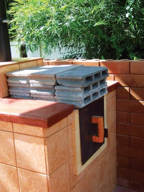 Concrete blocks on outdoor oven