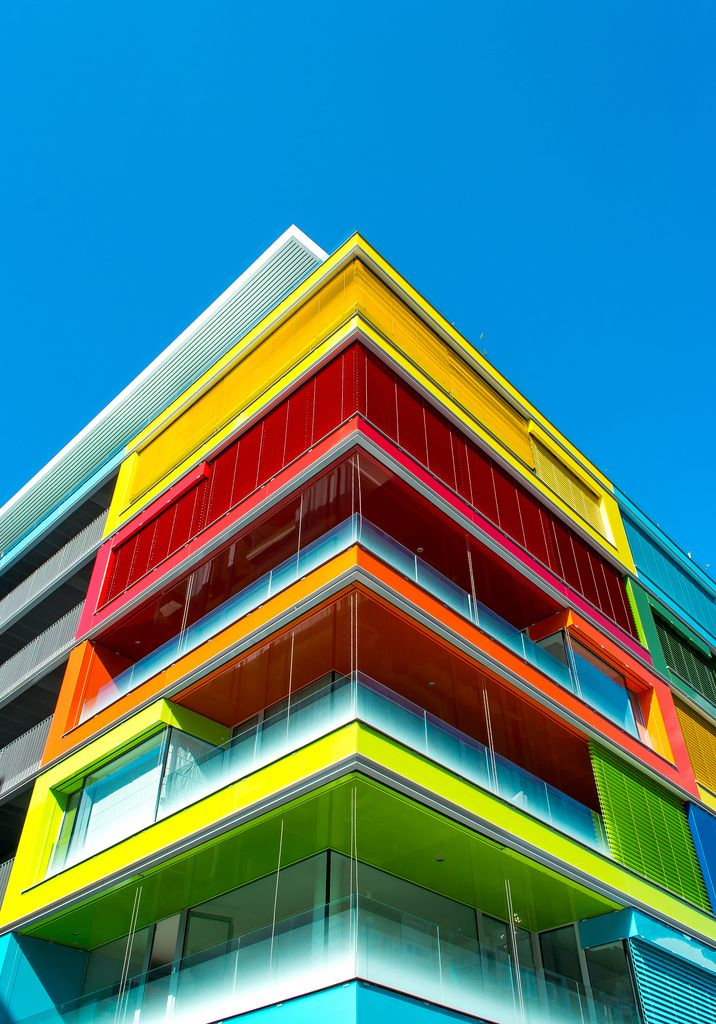 I love the use of colours, making this building vibrant and modern Színes Sarok by Fejes Ádám.