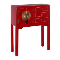 Mueble chino consola rojo rub 2 puertas muebles chinos for Muebles chinos online