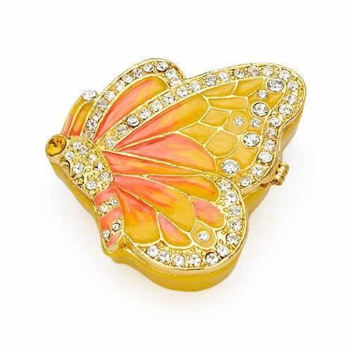 Collectors Edition Jewelry Box Lovely jewelry box made of yellow base metal and two tone enamel. Length 2.5 inch. Gemstone info: crystal with round shape and multicolor.