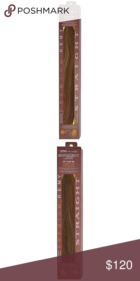 "Euronext Remy 18"" Clip-in Hair Extensions Premium Remy Hair is of the highest grade human hair extensions available. Extra attention and care is exercised during the entire manufacturing process, promoting alignment of the hair cuticles, which greatly reduces tangles and mimics natural hair flow. Ten piece kit - 8 pieces with clips and 2 test wefts without clips: One 8'' weft, One 7'' weft, One 6'' weft, One 5-3/4'' weft, Four 1-1/2'' wefts, and Two 1'' wefts without clips to test for color…"