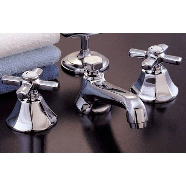 Strom Plumbing Mississippi Widespread Sink Faucet Set Expensive but beautiful.  Its a very good likeness of old faceted Standard and Kohler faucets.