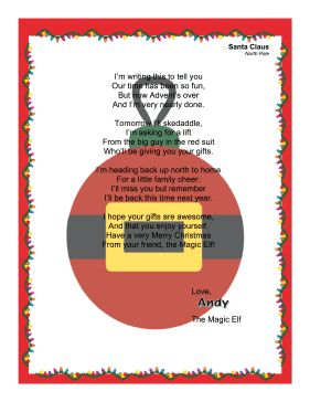 Perfect for kids who like the story Elf on the Shelf, this letter is from Andy, the Magic Elf, when he leaves to go back to the North Pole on Christmas. Free to download and print