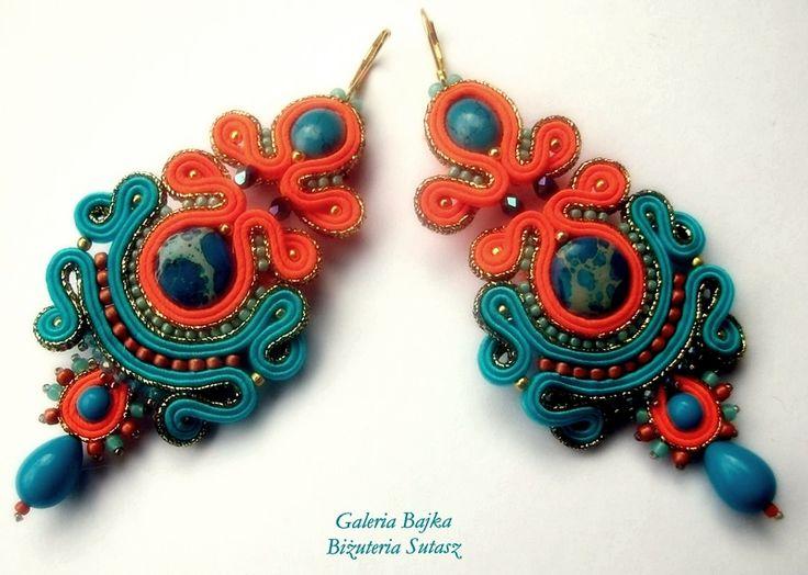 """Kolczyki sutasz (soutache)  """"RIO"""" w Galeria Bajka Soutache Jewelry na DaWanda.com"""