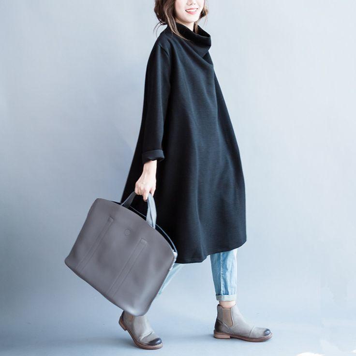 Women cotton loose long sleeve winter top - BUYKUD- 3