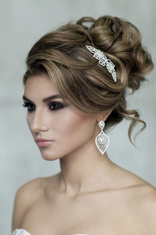 Classic Loose Curly Updo Wedding Hairstyle With Diamond Glam Hairpiece Featured Elstile