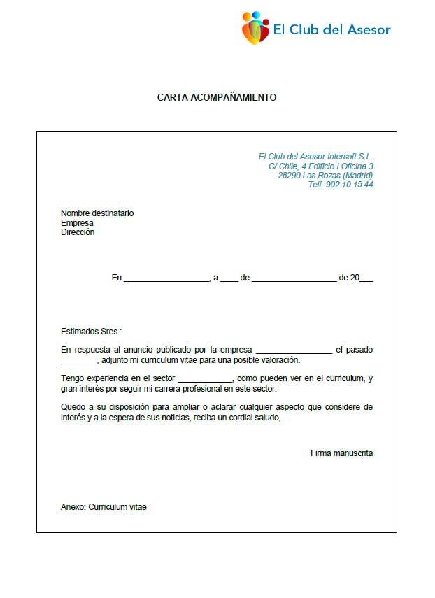 Modelo carta de acompañamiento al Curriculum Vitae