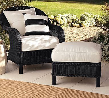 Palmetto All-Weather Wicker Armchair - Black #potterybarn http://www.uk-rattanfurniture.com/product/2-pcs-brown-rattan-dinner-chairs-stylish-design-with-steel-frame-and-it-has-a-smooth-and-glossy-finish-and-is-perfect-addition-to-your-garden-furniture-by-