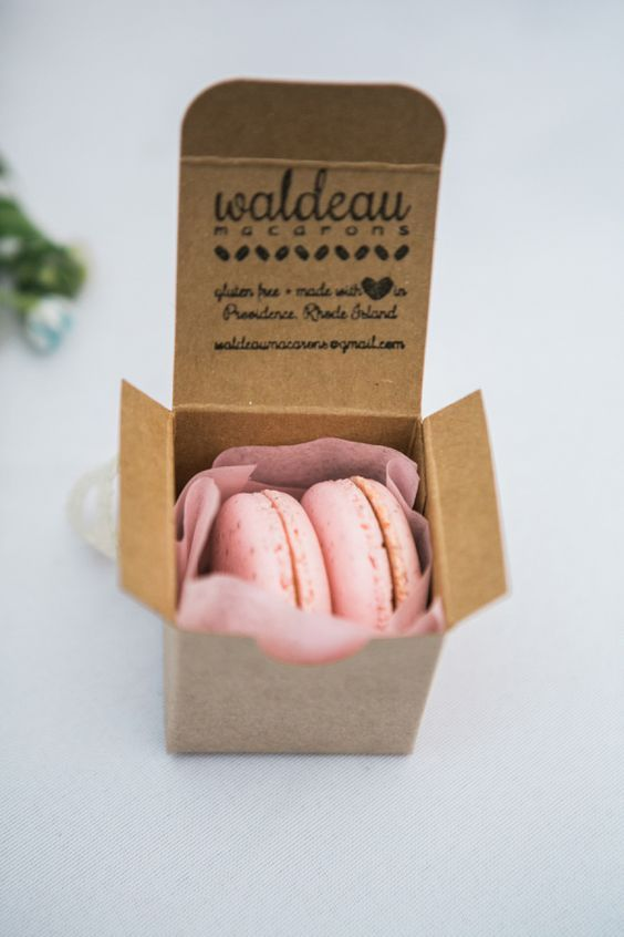 Sweet macaron wedding favor boxes / http://www.himisspuff.com/cute-fun-wedding-favor-ideas/4/