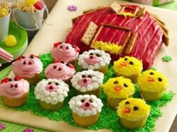 Barn Shaped Cake with Farm Animal Cupcakes (Duck, Sheep, Pig) - Great for Pre-K Complete Preschool Curriculum's Down on the Farm theme! Repinned by Pre-K Complete. Follow us on our blog, FB, Twitter, and Google Plus.