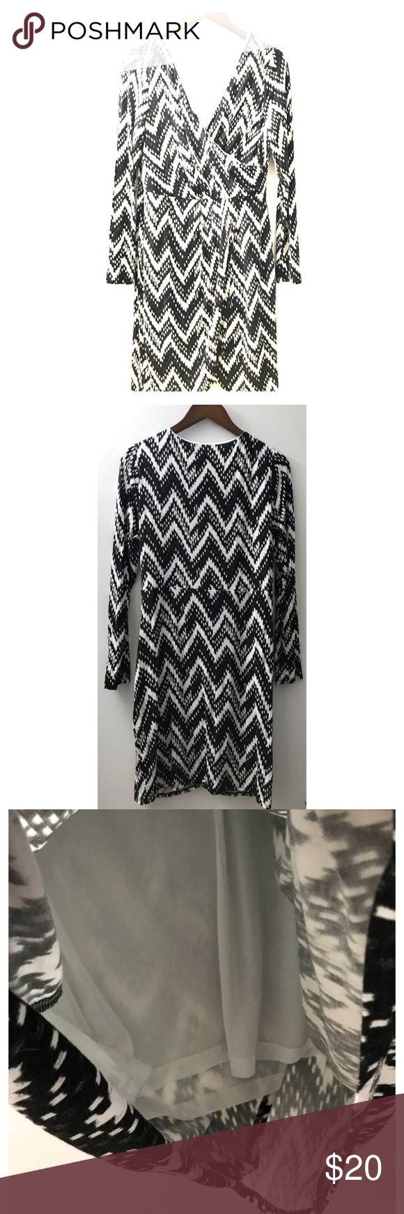 Skies are Blue Chevron Faux Wrap Knit Dress Skies are Blue Chevron Faux Wrap Knit Dress size Large.  This is a re-posh so never worn by me.  Color is black and off-white. Skies Are Blue Dresses Long Sleeve