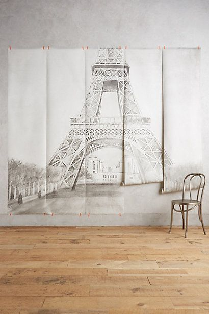 Eiffel tower mural we home and anthropologie for Anthropologie wallpaper mural