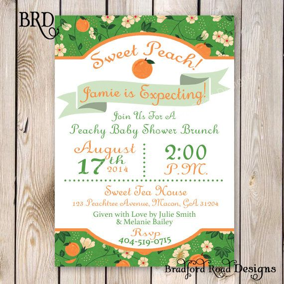 Sweet Peach Baby Shower Invitation Wedding by BradfordPartyDesigns