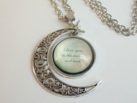 Crescent Moon Pendant with Charm  I Love You to by LeFuCycliste